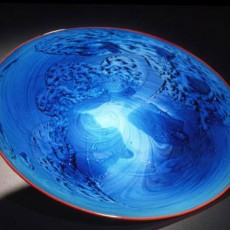 Glass, Artist, Josh Simpson, Primavera Gallery, Ojai, CA, Mega Planets, New Mexico Platter