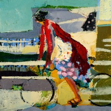 """Biking"" by Linda Christensen / 12x12 / Oil on Canvas / Primavera Gallery - Downtown"