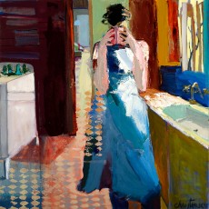 """Tea"" by Linda Christensen / 35x35 / Oil on Canvas / Primavera Gallery - Downtown"