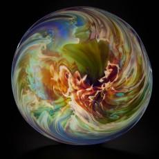 Glass, Artist, Josh Simpson, Primavera Gallery, Ojai, CA, Mega Planets, Corona Platter