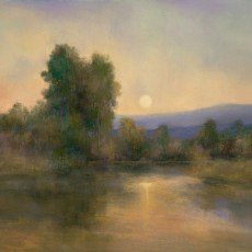Morning Moon by Jannene Behl / 9x12 / Pastel on Sanded Paper