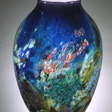 Glass, Artist, Josh Simpson, Primavera Gallery, Ojai, CA, Mega Planets, Inhabited Vase