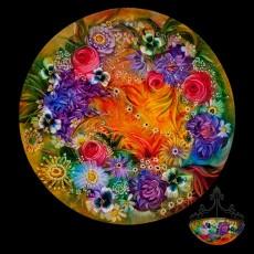 Reverse painted glass chandelier, artist, glass, Ojai, Primavera Gallery,